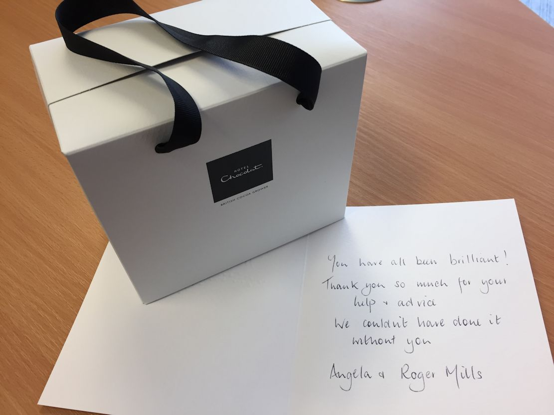 A lovely thank you from one of our wonderful clients